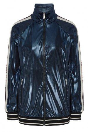 Синяя ламинированная олимпийка Gucci. Цвет: синий