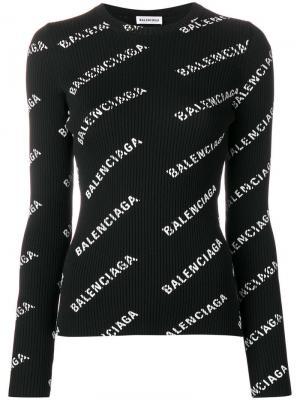 Свитер с логотипами Balenciaga. Цвет: черный