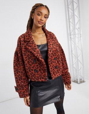 Куртка рыжего цвета из искусственного меха с коротким ворсом и леопардовым принтом -Оранжевый BB Dakota