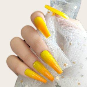 24шт накладные ногти и 1 лист лента SHEIN. Цвет: оранжевый