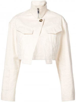 Укороченная джинсовая куртка Proenza Schouler. Цвет: белый