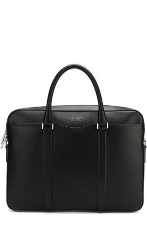 Кожаная сумка для ноутбука BOSS. Цвет: чёрный