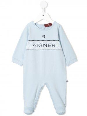 Комбинезон для новорожденного с логотипом Aigner Kids. Цвет: синий