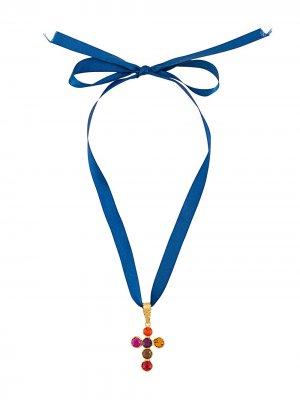 Колье 1990-х годов с подвеской-крестом Christian Lacroix Pre-Owned. Цвет: синий