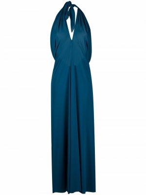 Длинное пляжное платье Caro Eres. Цвет: синий