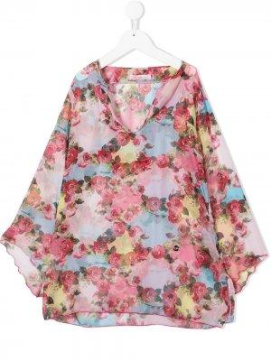Платье-туника с цветочным принтом Miss Blumarine. Цвет: розовый