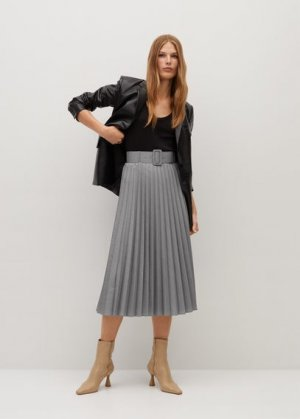 Плиссированная миди-юбка - Lady Mango. Цвет: серый