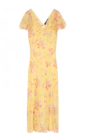 Шелковое платье-миди с цветочным принтом Ralph Lauren. Цвет: желтый
