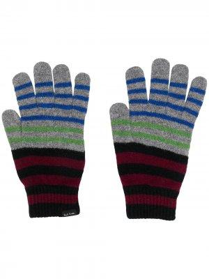 Трикотажные перчатки в полоску Paul Smith. Цвет: черный