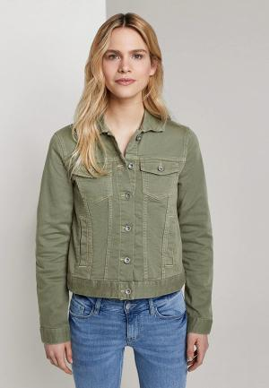 Куртка джинсовая Tom Tailor. Цвет: хаки