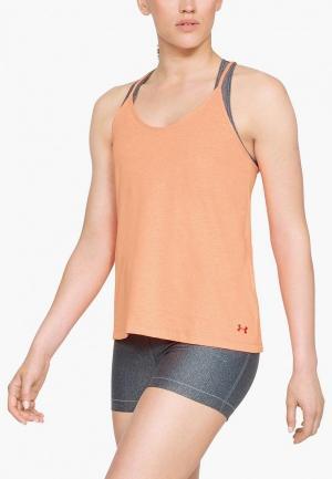 Майка спортивная Under Armour Solid Fashion Tank. Цвет: оранжевый