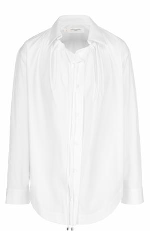 Хлопковая блуза прямого кроя с защипами Aquilano Rimondi. Цвет: белый