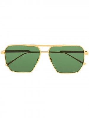 Солнцезащитные очки-авиаторы Bottega Veneta Eyewear. Цвет: золотистый