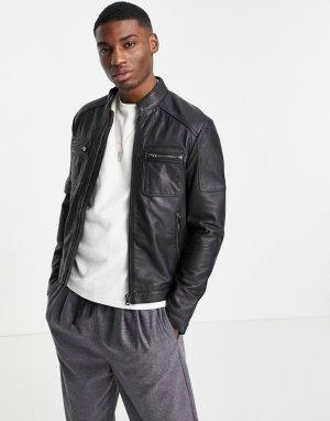 Кожаная куртка с карманами Barneys-Черный цвет Barneys Originals
