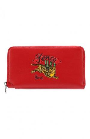 Кожаное портмоне Kenzo. Цвет: красный