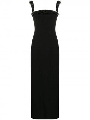 Bead-trim column dress Versace. Цвет: черный