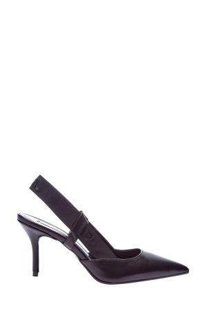 Открытые туфли-лодочки с отделкой в стиле спортшик KARL LAGERFELD. Цвет: черный