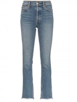 Прямые джинсы с рваными деталями RE/DONE. Цвет: синий