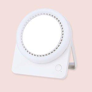 1шт Электрический вентилятор с зеркалом SHEIN. Цвет: белый