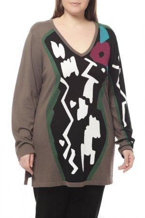 Пуловер Marina Rinaldi. Цвет: коричневый, зеленый, черный