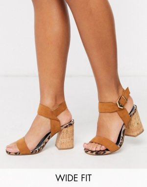 Босоножки для широкой стопы на блочном каблуке -Светло-коричневый River Island