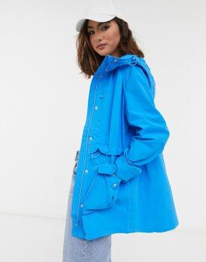 Синяя куртка-дождевик с капюшоном J.Crew Perfect-Голубой J Crew