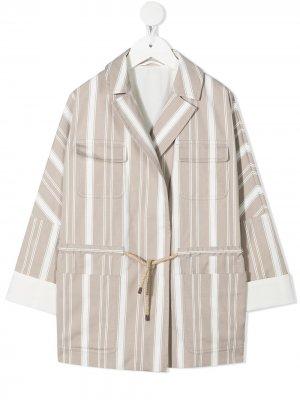 Полосатый пиджак с поясом Brunello Cucinelli Kids. Цвет: нейтральные цвета