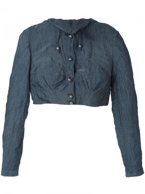 Укороченная куртка с капюшоном Romeo Gigli Pre-Owned. Цвет: синий
