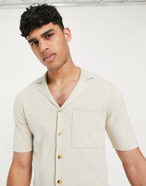 Светло-коричневая трикотажная рубашка с короткими рукавами и отложным воротником -Коричневый цвет Only & Sons