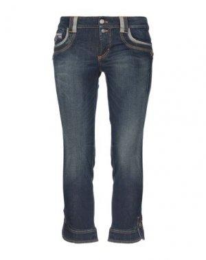 Джинсовые брюки-капри GALLIANO. Цвет: синий