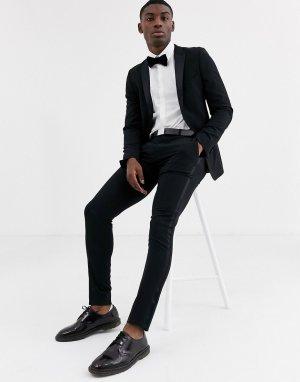 Черные облегающие брюки -Черный цвет ASOS DESIGN