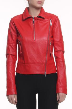 Куртка кожаная Just Cavalli. Цвет: красный