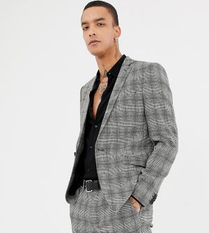 Серый супероблегающий пиджак в клетку Heart & Dagger