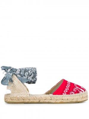 Эспадрильи на шнуровке с принтом Manebi. Цвет: красный