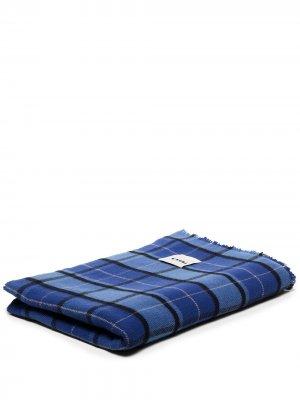 Одеяло в клетку тартан TEKLA. Цвет: синий