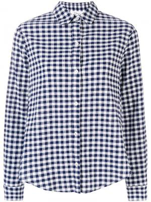 Рубашка в клетку виши с отделкой оборками Clu. Цвет: синий