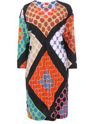 Шелковое платье-туника Wunderkind. Цвет: разноцветный