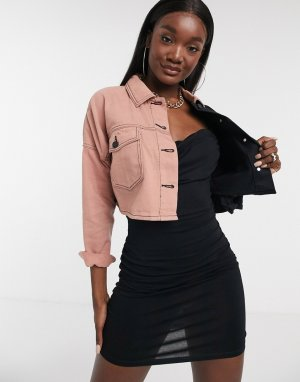 Джинсовая куртка от комплекта с контрастной вставкой -Мульти Missguided