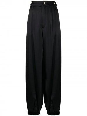 Атласные брюки свободного кроя Amen. Цвет: черный