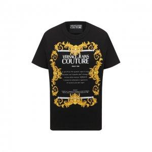 Хлопковая футболка Versace Jeans Couture. Цвет: чёрный