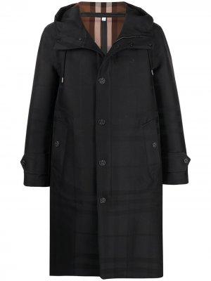 Пальто Globe в клетку Burberry. Цвет: черный
