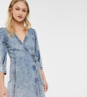 Синее джинсовое платье мини с запахом -Синий Monki
