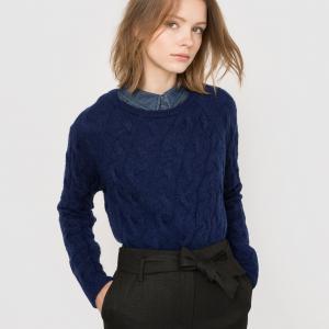 Пуловер с узором косы, шерсть/мохер La Redoute Collections. Цвет: розовая пудра
