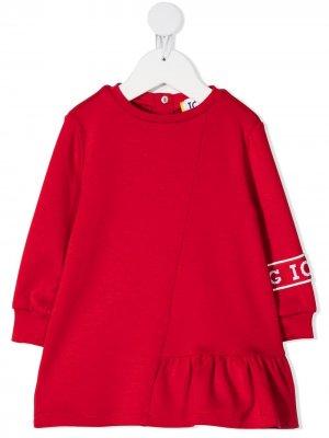 Платье мини с логотипом Iceberg Kids. Цвет: красный