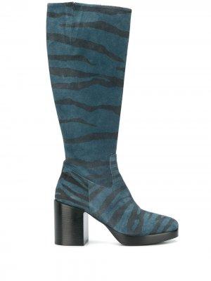 Сапоги с зебровым принтом A.F.Vandevorst. Цвет: синий