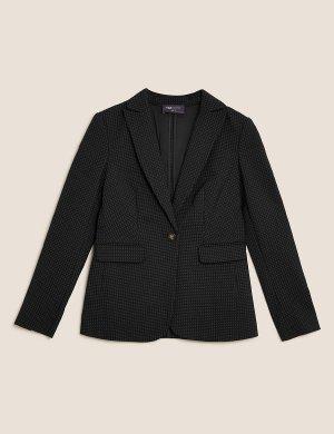 Однобортный пиджак в горошек M&S Collection. Цвет: черный микс