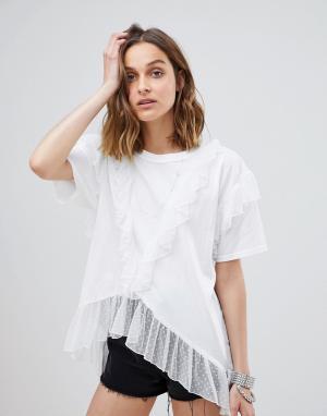 Сетчатая oversize-футболка в горошек Anna Sui. Цвет: белый