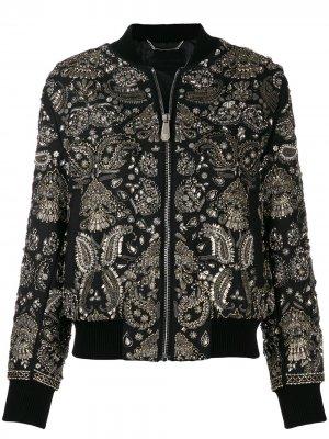 Куртка-бомбер с принтом пейсли Philipp Plein. Цвет: черный