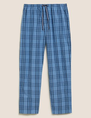 Хлопковые пижамные брюки в клетку M&S Collection. Цвет: синий микс