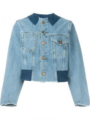 Джинсовая куртка без воротника Aries. Цвет: синий